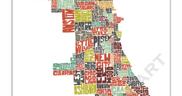 Chicago Typography Map Chicago Map Art Chicago