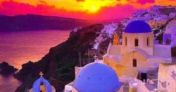 Sunset - Santorini, Greece I think Greece would be a beautiful place