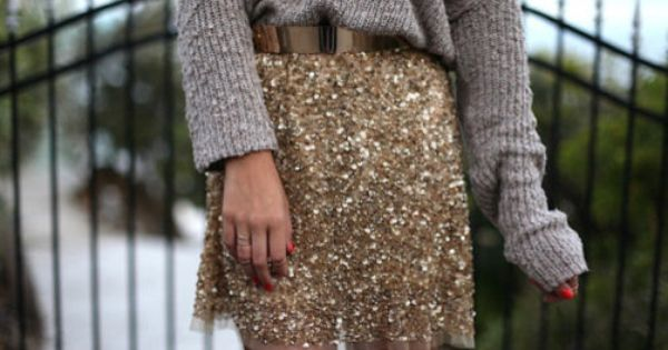 Make a sequin skirt casual with a chunky sweater