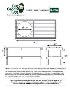Large Big Green Egg Table Dimensions In 2019 Big Green Egg