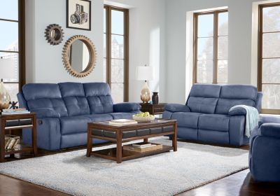 Corinne Blue 5 Pc Living Room With Reclining Sofa Blue Living Room Sets Small Room Sofa Living Room Sets