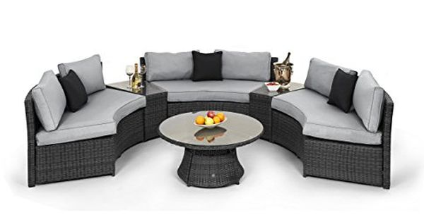 Maze Rattan Half Moon Corner Sofa In Grey Garden Furniture Set