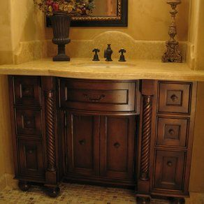 Custom Distressed Alder Bow Front Bathroom Vanity By Philip Snyder