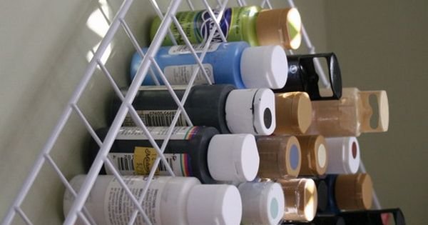DIY: Craft paint issue solved. She used two shelves from one of