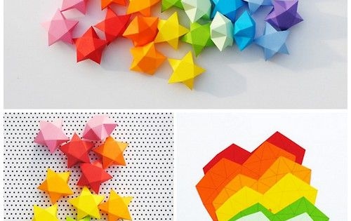 DIY Cut and Fold Lucky Paper Stars Tutorial and Template from minieco