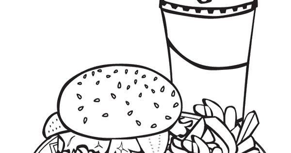 Junk Food Burger And Drink Coloring Page For Kids Action