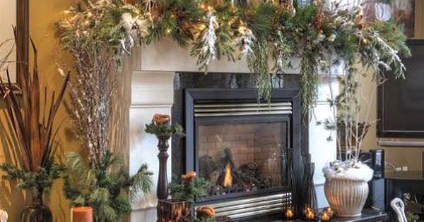 How Beautiful! Rustic Christmas fireplace mantel decoration.