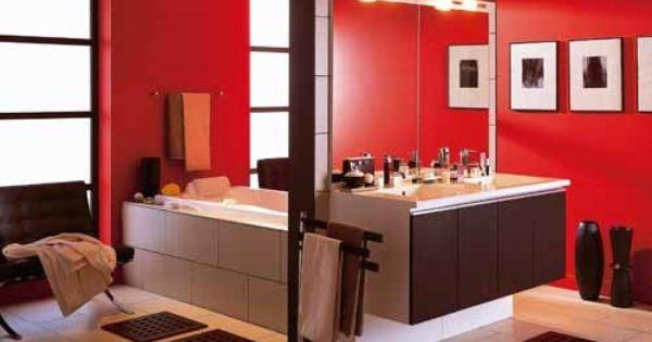 Salle de bain rouge salle de bain rouge leroy merlin cr dit photo et demande de devis for Decoration salle de bain rouge