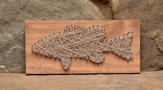 Bass fish string art wood decor home decor cabin decor for Fish string art