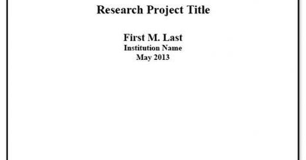 apa title page