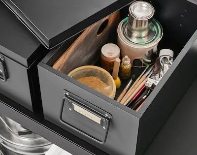 Manick Box With Lid Black Width 13 Ikea In 2020 Box With Lid Ikea Dresser Top Organization