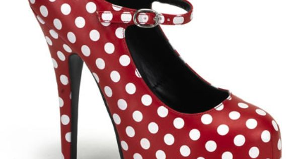 "Polka Dot Shoes, Maryjane, Concealed Platform, 5.75"" Stiletto High Heel"