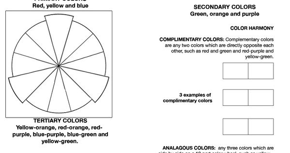 color theory worksheet....I've found my middle school
