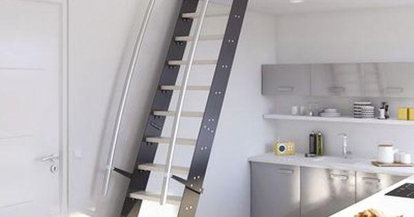 Escalier gain de place venise en inox lapeyre id deco pinterest escali - Escalier loft lapeyre ...
