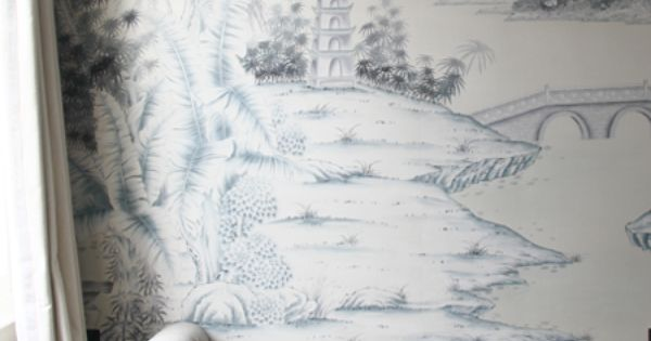 Grisaille Mural Wall With Beautiful Gray Bench The
