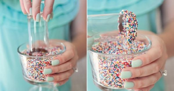 For Kid's Party or Special Cocktails: Rim glasses with chocolate and sprinkles.