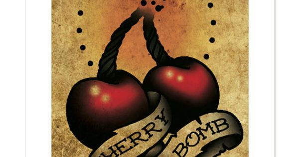 Cherry bomb neo traditional tattoo flash art print by for Cherry bomb tattoo parlor perth