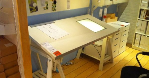 Drawing table with light box ikea drafting table with for Leuchtkasten ikea