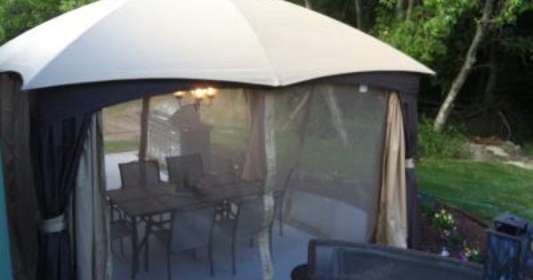 Shop Allen Roth 129 In X 155 In X 9 86 Ft Polyester Roof Brown Steel Rectangle Gazebo At Lowes Com Gazebo Rectangle Gazebo Outdoor Living Space