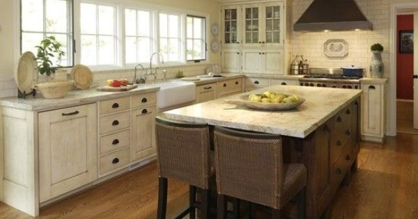 Distressed white kitchen cabinets white distressed for White mission style kitchen cabinets