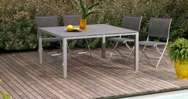 Table de jardin en aluminium et textil ne gris b ton - Table de jardin beton ...