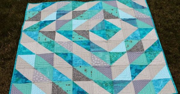 Hsts Magic 8 Method Baby Quilt Using Only Turquoise And