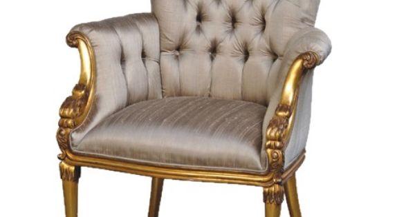 fauteuil capitonn en acajou dor et soie versailles. Black Bedroom Furniture Sets. Home Design Ideas