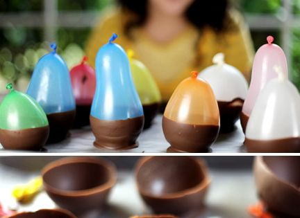 Great idea for a b-day party activity. Make the chocolate cups when