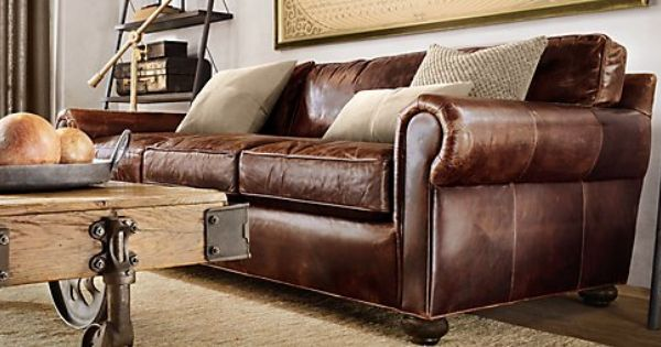 Living Room Ideas From Restoration Hardware Leather Couches Mean Less Animal Fur Gets Stuck