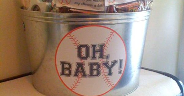 Baseball Baby Shower. I have an orange drink tub.
