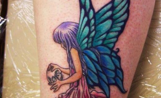 Skull flower and fairy tattoo design for women colorful for Skull fairy tattoos