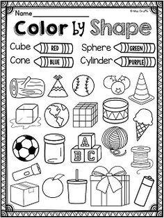 3d Shapes Real Life Objects Coloring Worksheet First Grade Math Shapes Worksheet Kindergarten Shapes Kindergarten