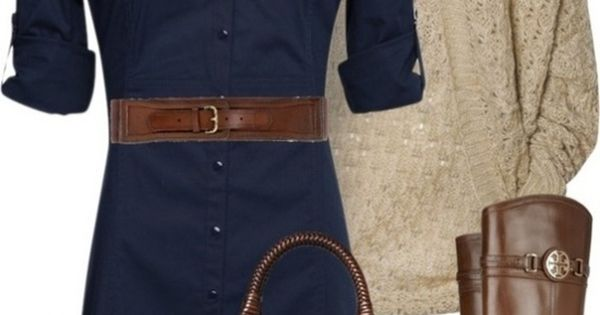 Navy shirt dress and rich brown boots/belt. And that purse is to die for!