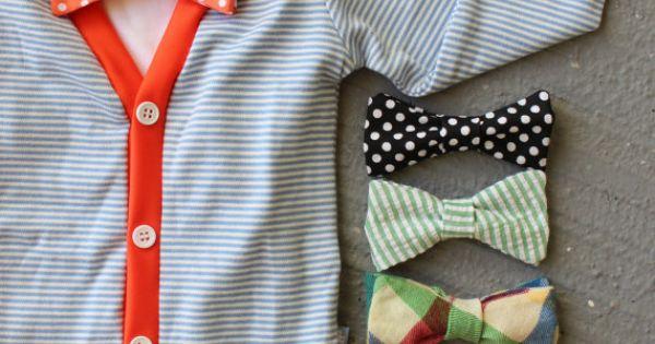Cardigan and Bow Tie Onesie Set