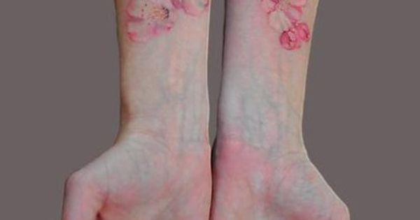 Water color cherry blossom tattoo. I love watercolor floral tattoos. I really