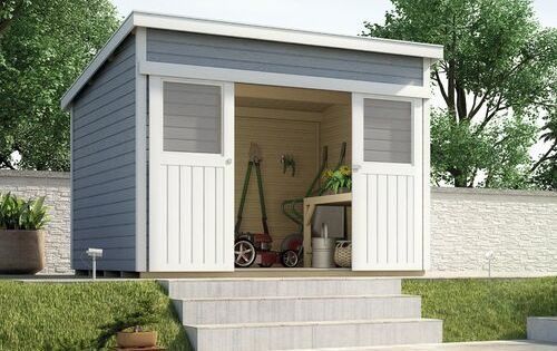 295 Cm X 209 Cm Gerateschuppen Aus Massivholz Weka Paneelfarbe Grau In 2020 Carport Designs Shed House
