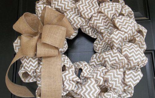Diy Burlap Wreath With Ribbon