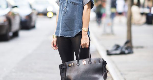 olivia palermo chic street style / denim paired with blue heels