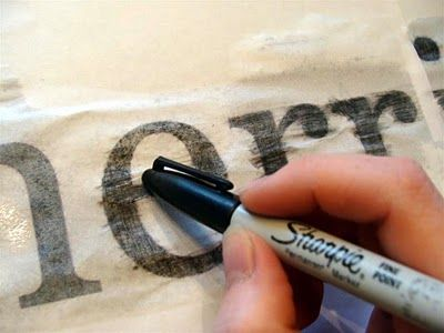 Transfer printed words from your computer onto wood to make sweet signs.