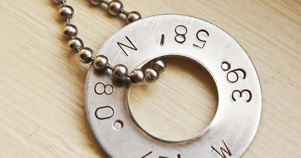 Silver Wedding Anniversary Gifts For Him: Personalized Latitude Longitude Necklace