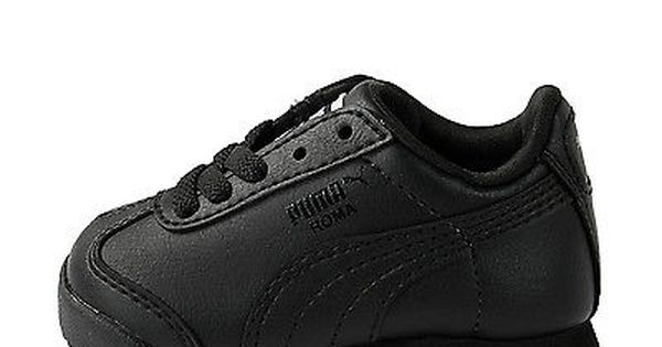 NIB BABY Puma Roma Basic Jr BLACK BLACK Sneakers Infants Toddler Boy Girl