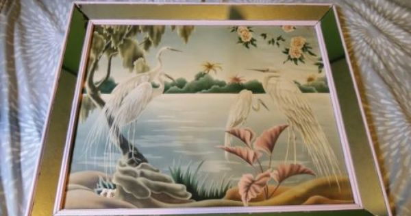 Vintage Mid Century Retro Flamingo Egrets Picture By