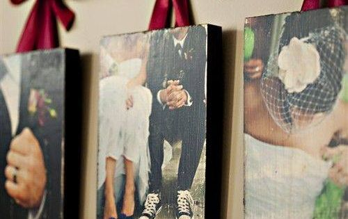 I love this idea.........5x7 photos, painted wooden boards, mod podge, ribbon. With