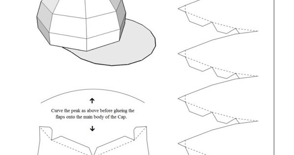 foldable hat coloring pages | Print, Cut-out & build your own customisable baseball cap ...