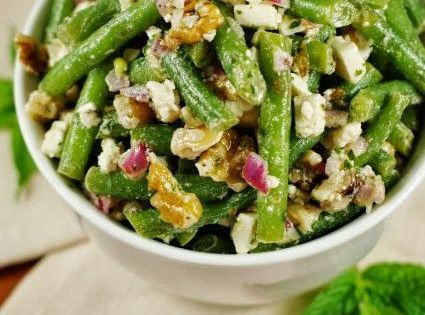 Green Bean, Walnut, and Feta Cheese Salad dressed with fresh mint ...