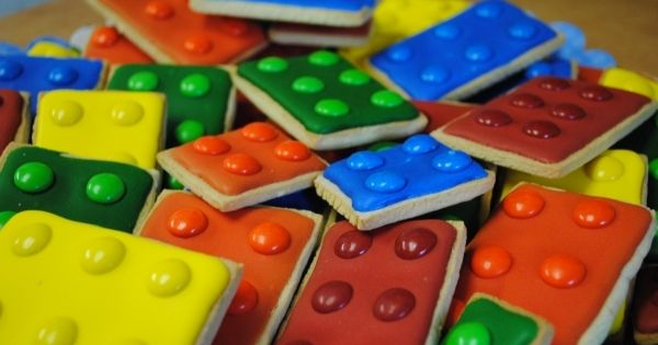 LEGO cookies using M&M;'s- fun kids party idea