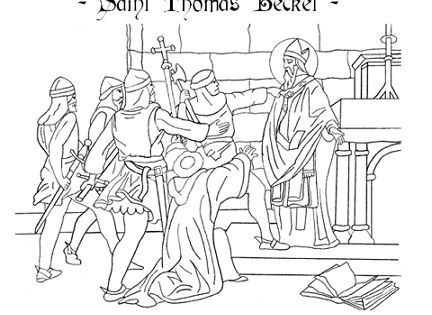 St Thomas Becket Catholic Coloring Page Feast Day Is December 29th
