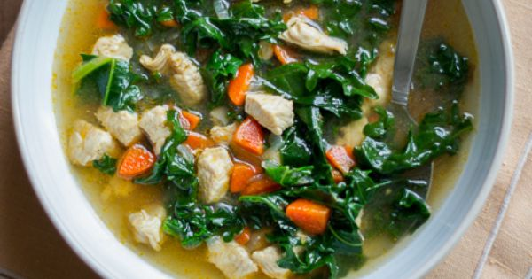 Healthy and wonderful Chicken Kale Soup Recipe via ChickenRecipeBox.com - minus soy