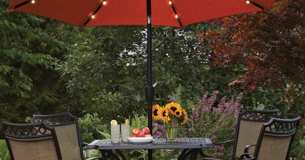 Better Homes And Gardens 9 39 Round Umbrella With Solar Lights Orange Brick Battery Operated