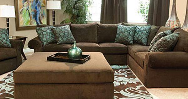 Mor furniture wonka chocolate sectional living room for - Brown sofa living room decor ideas ...